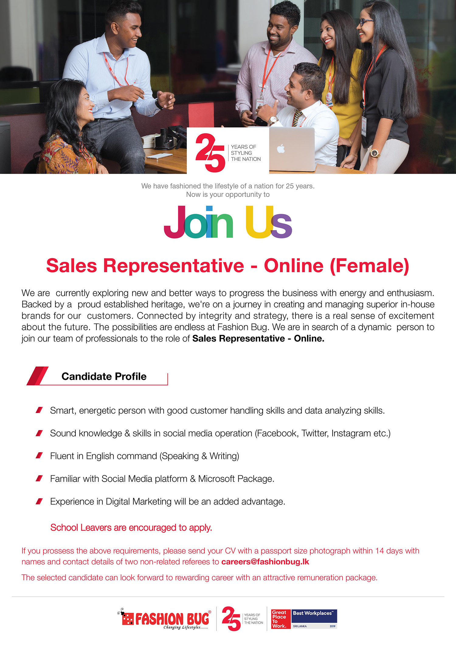 Sales Representative – Online (Female)